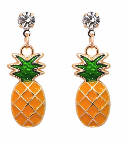 Pineapple vegan yellow ceramic crystal earrings