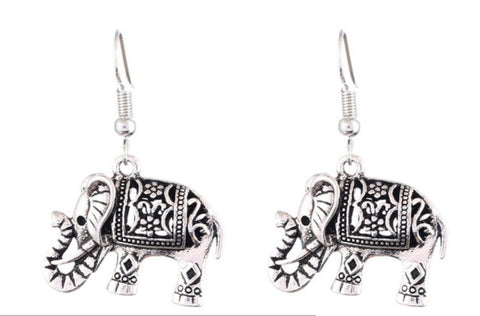 Silver elephant dangle earrings