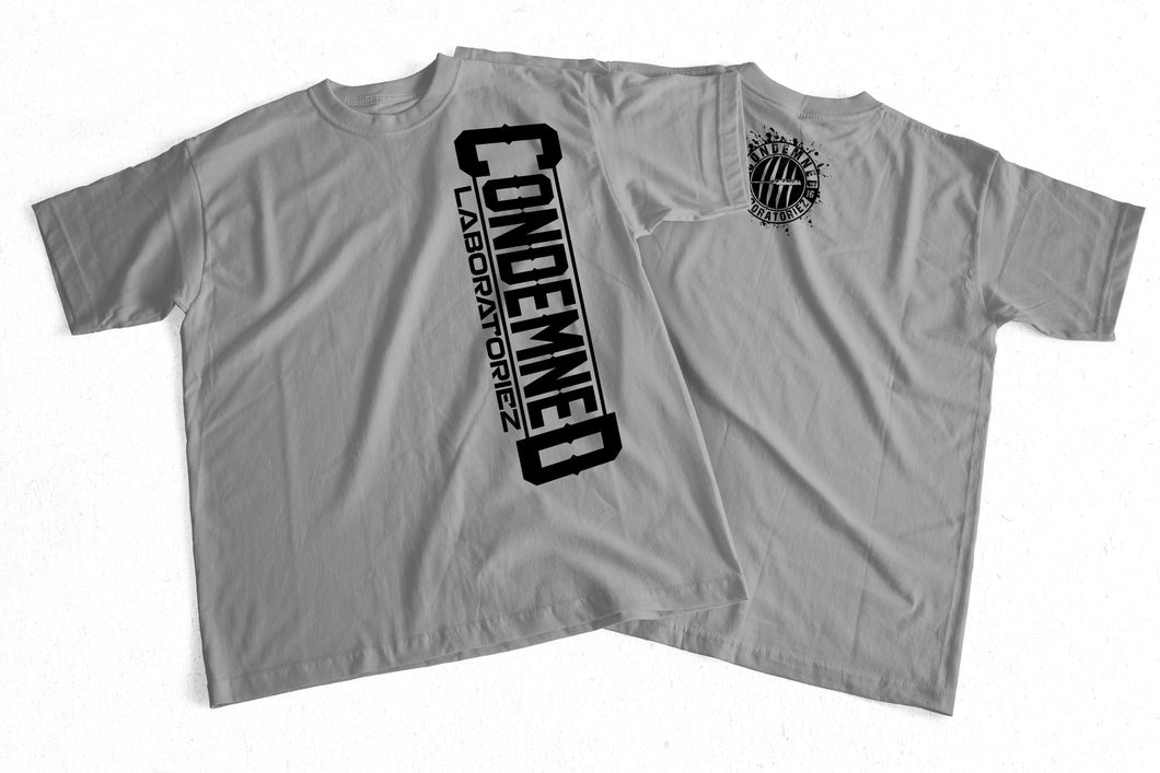 Condemned Labz Original Logo T-Shirt Sideways Grey APPAREL Condemned Labz small