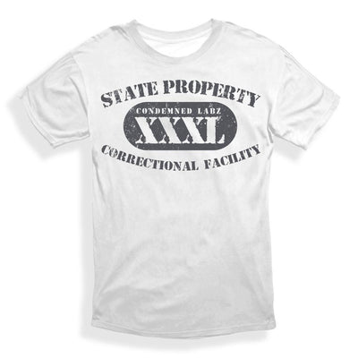 Condemned Labz State Property Tee White With Charcoal Print APPAREL Condemned Labz SMALL