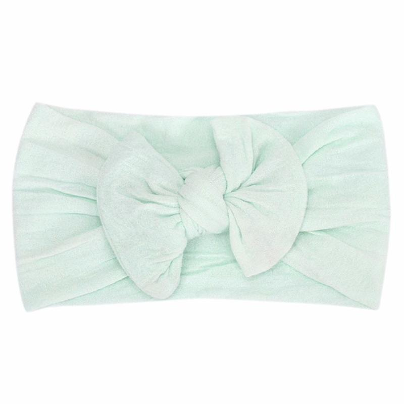 mint green headband bow laid flat