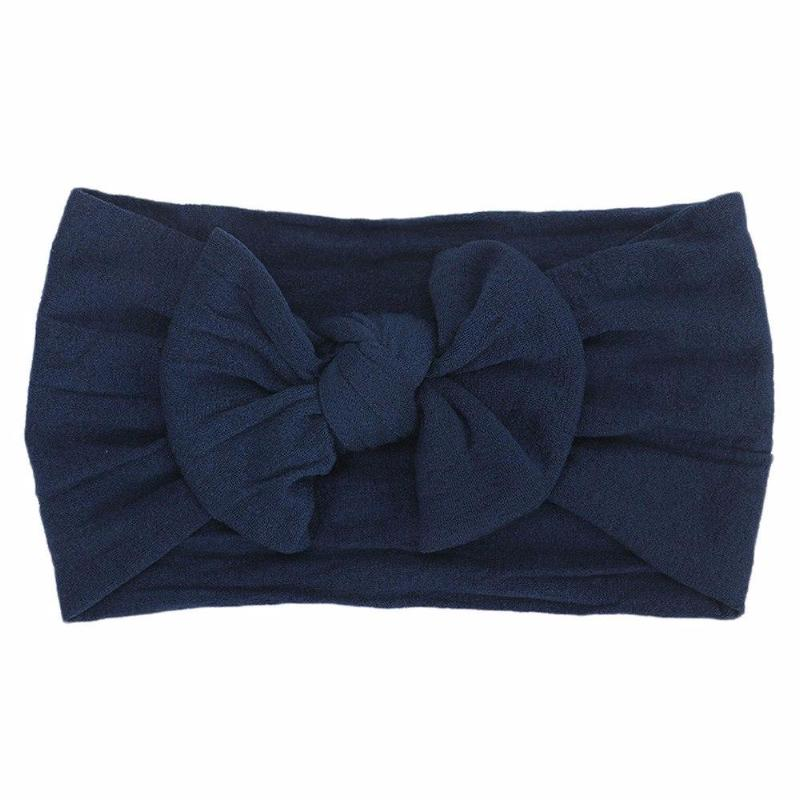 navy blue headband bow laid flat