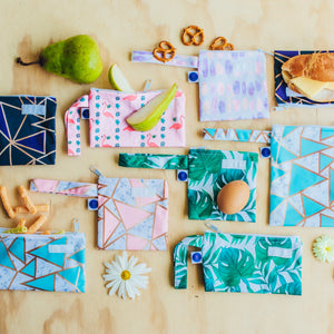 Blue Geometric Snack Bags