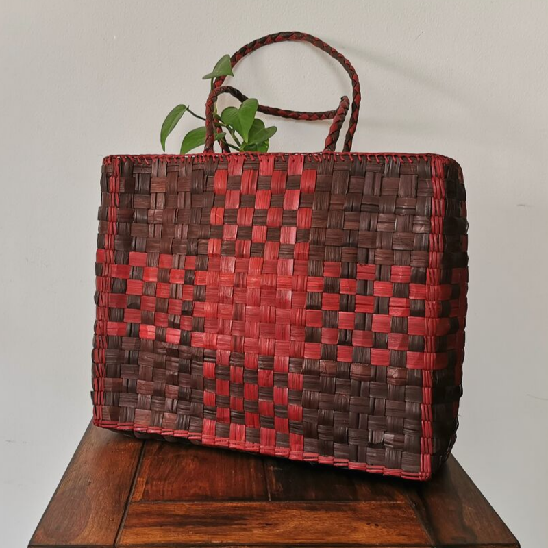 Cross-Stitch Bag - Red - inkahaani