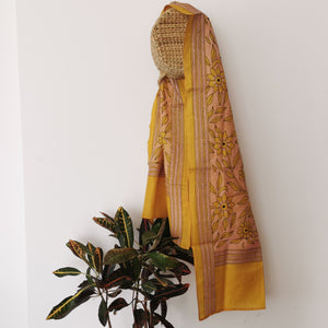 Always Sunny - Handstitched Kantha Scarf / Stole - inkahaani