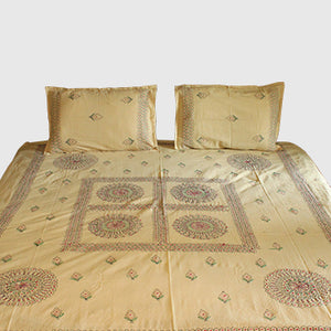 Mandala in Cream Hand embroidered bed linen - inkahaani