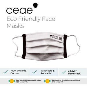 Face Mask - 100% organic cotton (TUV Tested and Certified) Box of 2