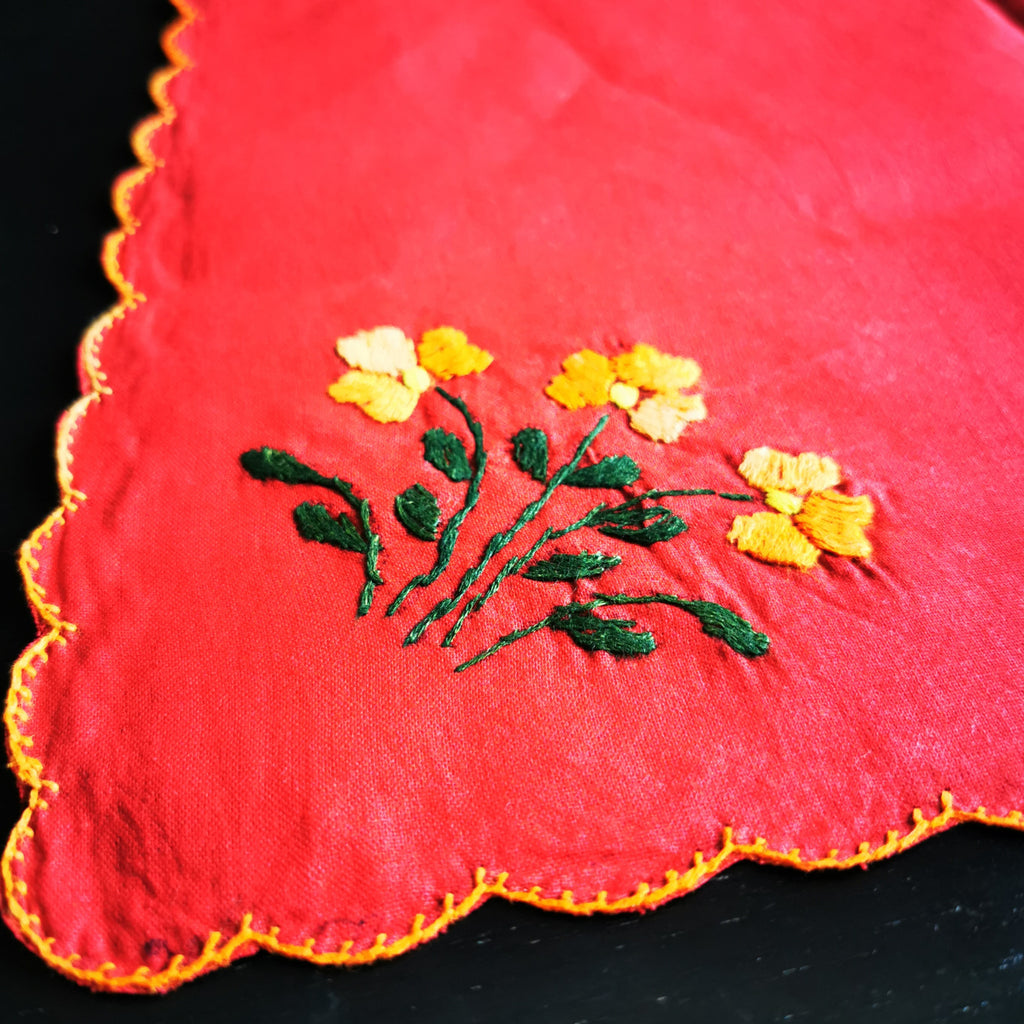 Xmas cheer Table Runner  - Yellow & Green on Red - inkahaani