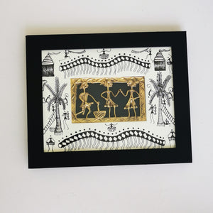 Dhokra Work with Warli Handpainted Wall Hanging - inkahaani