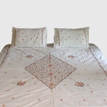 Heera in Khara Hand embroidered bed linen - inkahaani