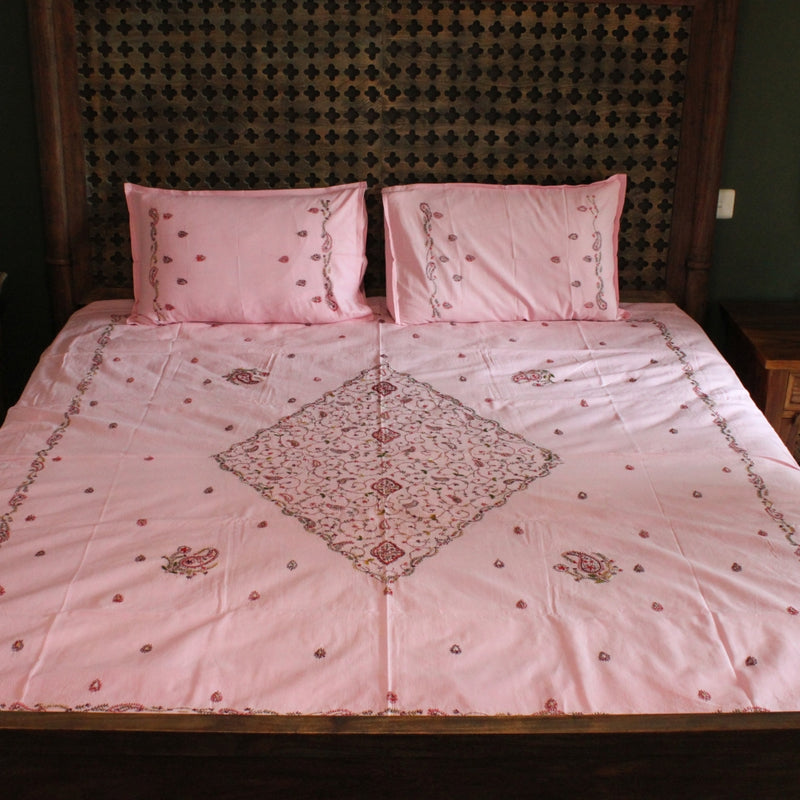 Heera in Gulkand Hand embroidered bed linen - inkahaani