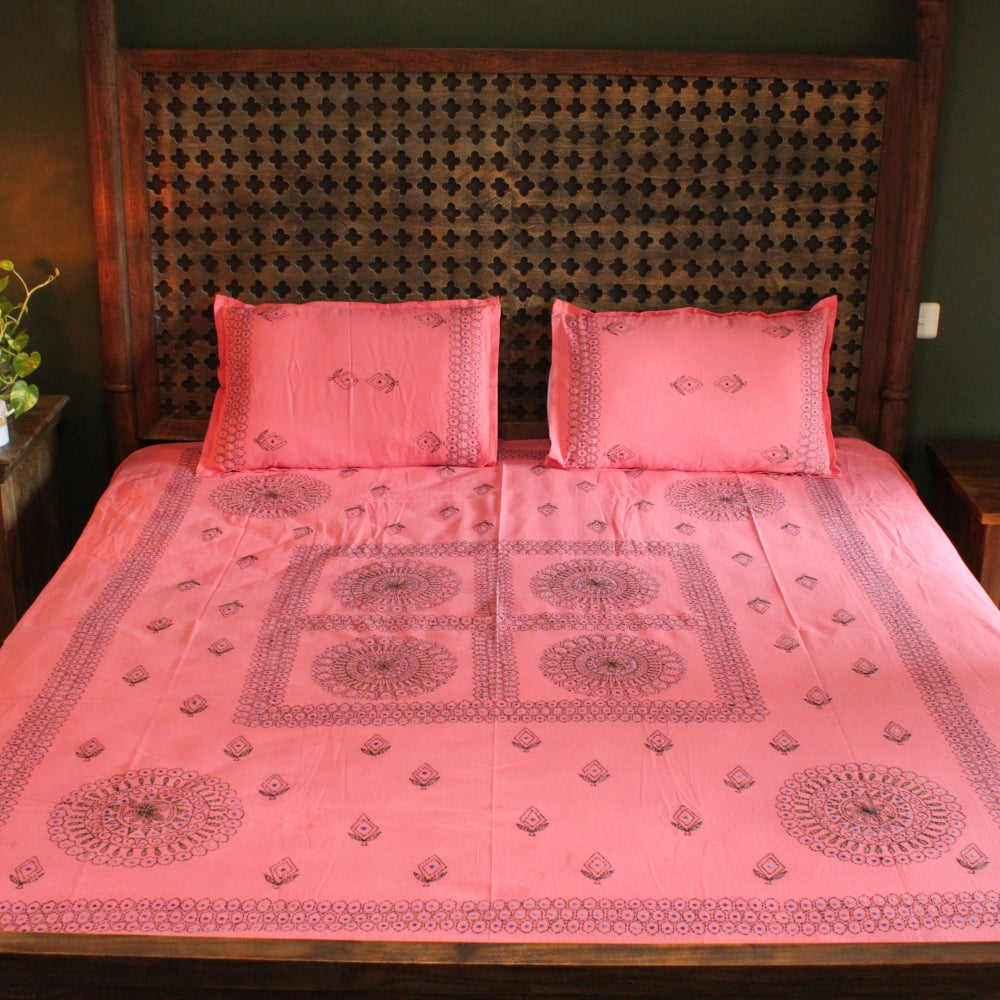 Mandala in Rose Hand embroidered bed linen - inkahaani