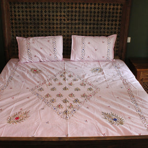 Gulkand Hand embroidered bed linen - inkahaani