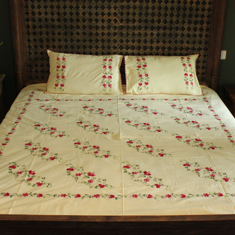 Gulbahaar Hand embroidered bed linen - inkahaani