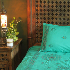 Mandala in Aquamarine Hand embroidered bed linen - inkahaani