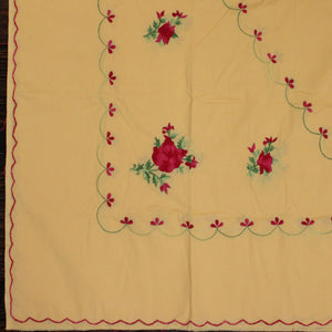 English Rose in Malai Hand embroidered bed linen - inkahaani