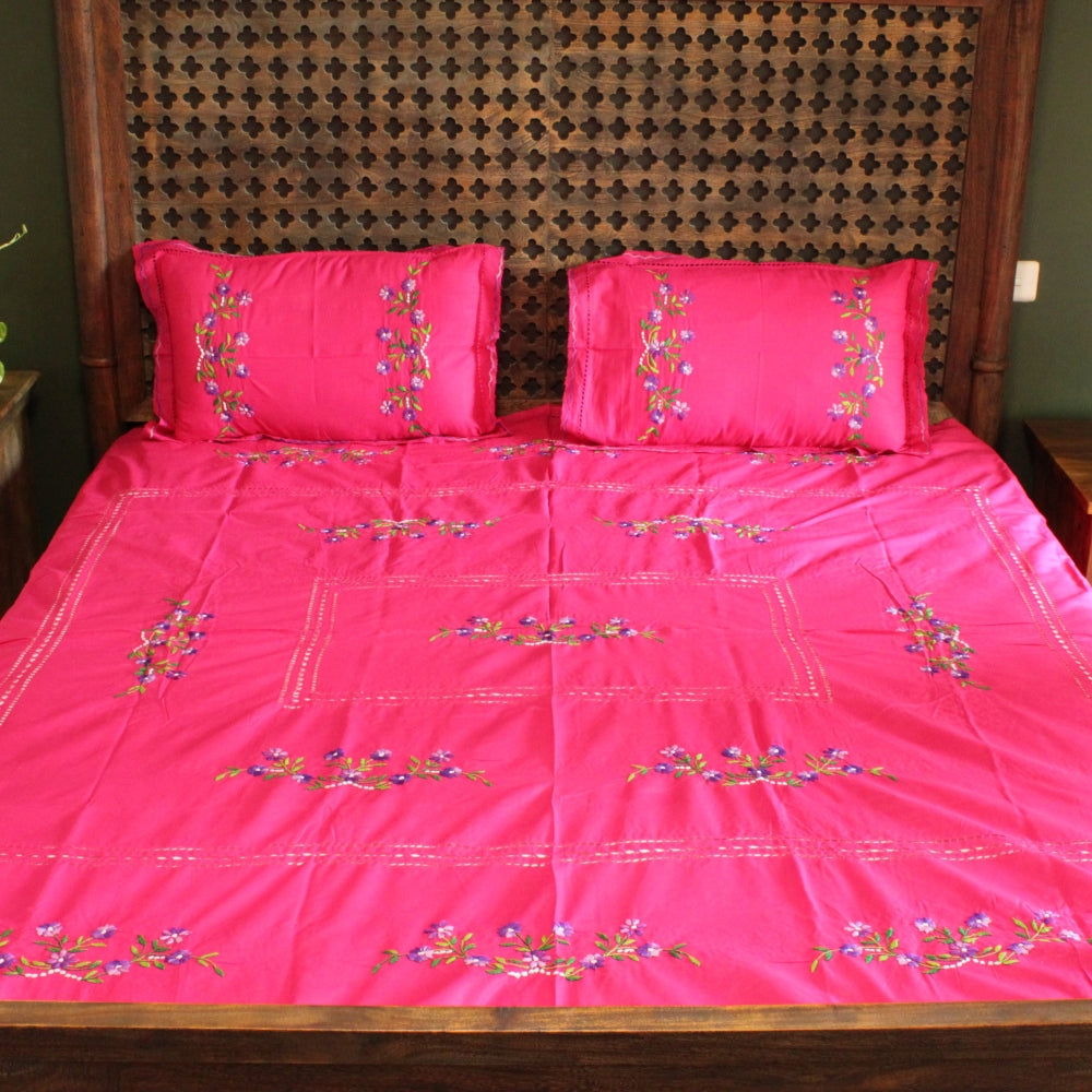 Rani in Bel Hand embroidered bed linen - inkahaani