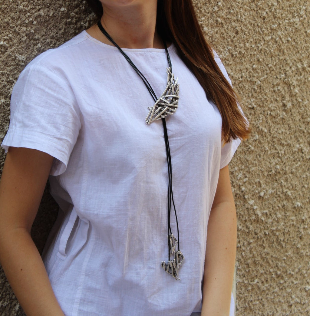 Funky long necklace with leather cords - inkahaani
