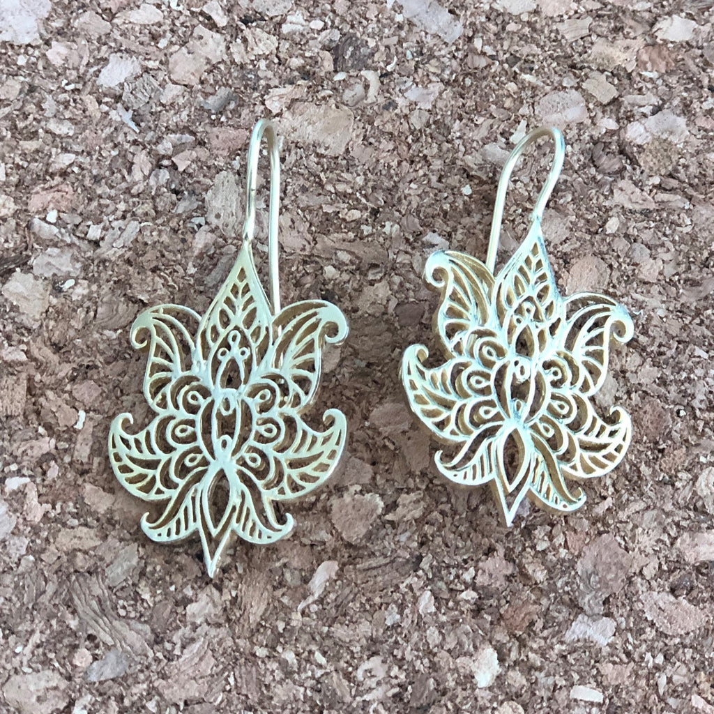 Open lotus earrings - inkahaani