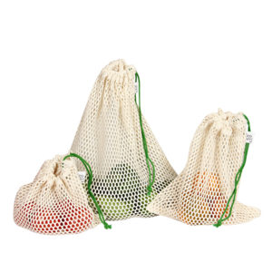 Reusable Grocery Bags Cotton String Bags- Mesh Bags- pack of 3 - inkahaani