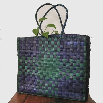 Cross-Stitch Bag - Blue - inkahaani