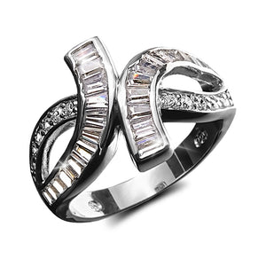 Baguette Twist Ring Rhodium
