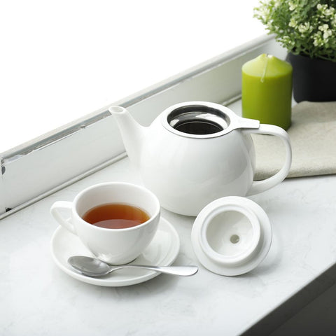 Image of Porcelain Tea Pot with Stainless Steel Infuser