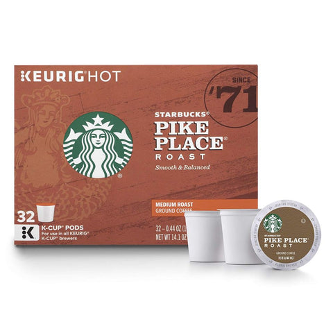 Starbucks Pike Place Medium Roast Single Cup Coffee for Keurig Brewers, 1 box of 32