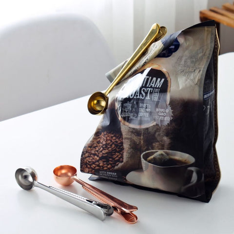 Multi-Function Stainless Steel Ground Coffee Scoop Bag Clip