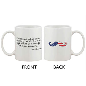 American Flag Design Ceramic Coffee Mug Statement - John F. Kennedy Quote - Apparel & Accessories