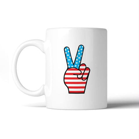American Flag Peace Figure Sign Unique Design Mug For 4th Of July - Apparel & Accessories