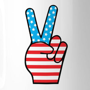 American Flag Peace Figure Sign Unique Design Mug For 4th Of July