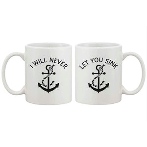 Anchor Matching BFF Coffee Mugs for Best Friend - I Will Never Let You Sink - Apparel & Accessories