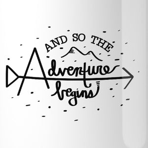 And So The Adventure Begins White Mug
