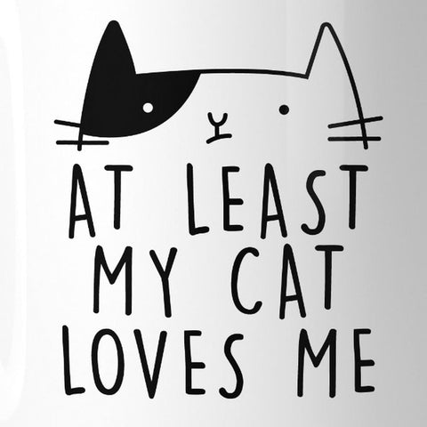 At Least My Cat Loves Me Funny Quote Coffee Mug Cute Gift Ideas - Apparel & Accessories