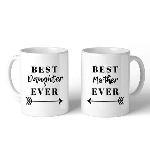 Best Daughter & Mother Ever White Cute Mug Mom Gifts From Daughter - Apparel & Accessories