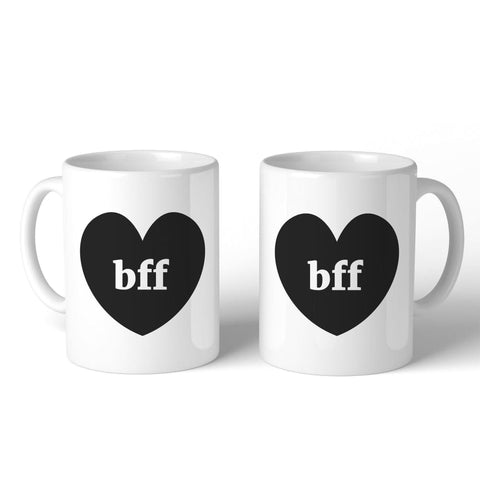 Image of Bff Hearts BFF Matching White Mugs - Apparel & Accessories