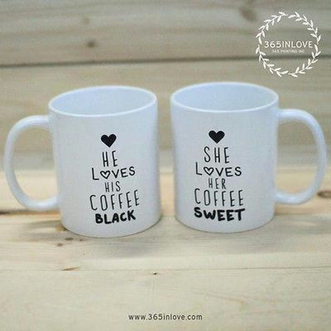 Black Coffee Matching Couple Mugs - His and Hers Matching Coffee Mug Cup - Apparel & Accessories