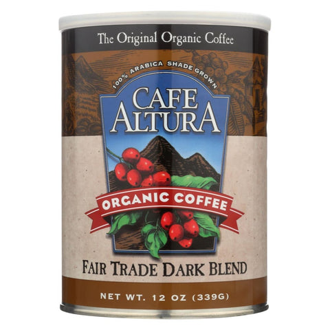Cafe Altura 100% Organic Fair Trade Dark Blend Coffee - Case Of 6 - 12 Oz - Eco-Friendly Home & Grocery