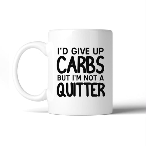 Image of Carbs Quitter 11 Oz Ceramic Coffee Mug Cute Workout Saying Gifts - Apparel & Accessories