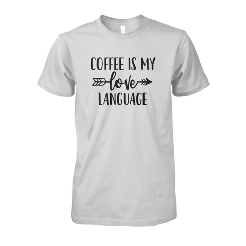 Image of Coffee Is My Love Language Tee - Ash Grey / S / Unisex Cotton Tee - Short Sleeves