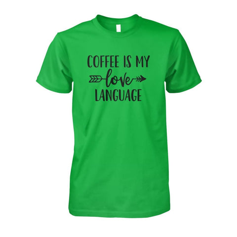 Image of Coffee Is My Love Language Tee - Electric Green / S / Unisex Cotton Tee - Short Sleeves