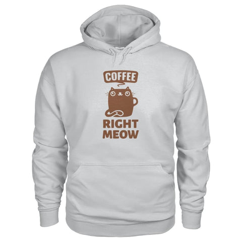 Coffee Right Meow Hoodie - Ash Grey / S - Hoodies