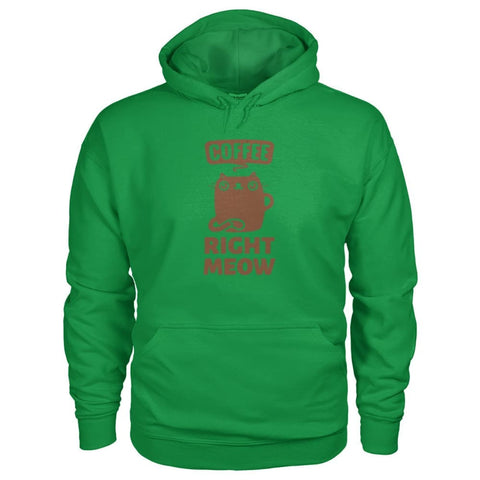 Coffee Right Meow Hoodie - Irish Green / S - Hoodies