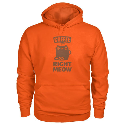 Coffee Right Meow Hoodie - Orange / S - Hoodies