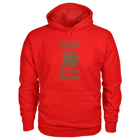 Coffee Right Meow Hoodie - Red / S - Hoodies