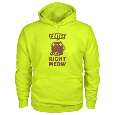 Coffee Right Meow Hoodie - Safety Green / S - Hoodies