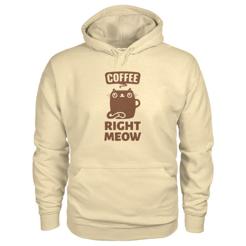 Coffee Right Meow Hoodie - Sand / S - Hoodies