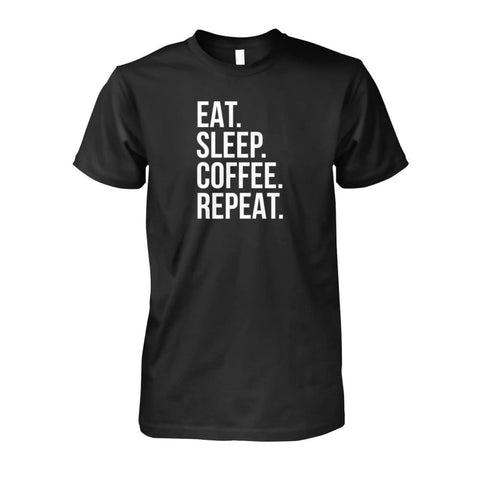 Eat Sleep Coffee Repeat Tee - Black / S - Short Sleeves