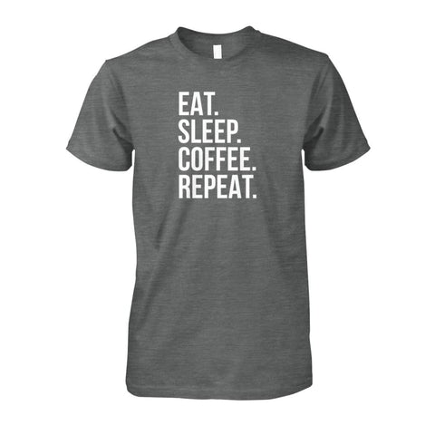 Image of Eat Sleep Coffee Repeat Tee - Dark Heather / S - Short Sleeves